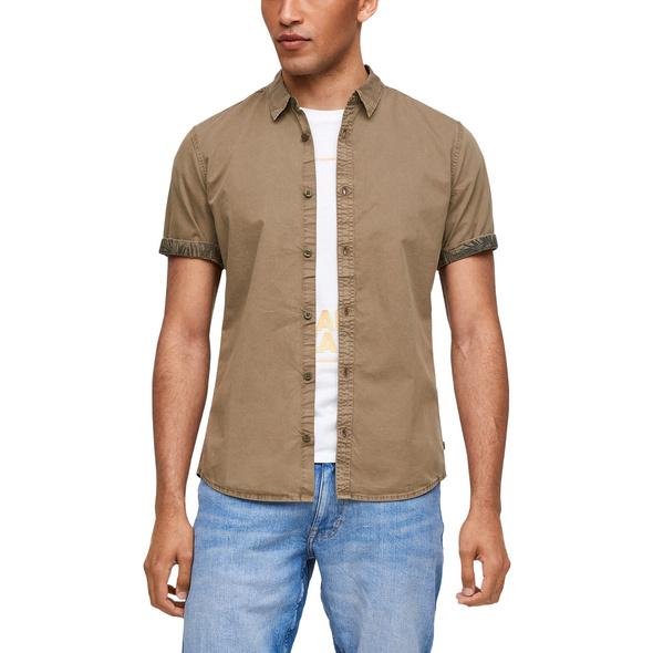 Extra Slim Fit: Hemd mit Muster-Details - Kurzarmhemd