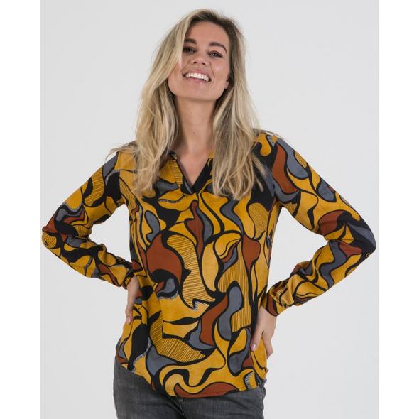 Viskose-Bluse mit abstrakten Druck