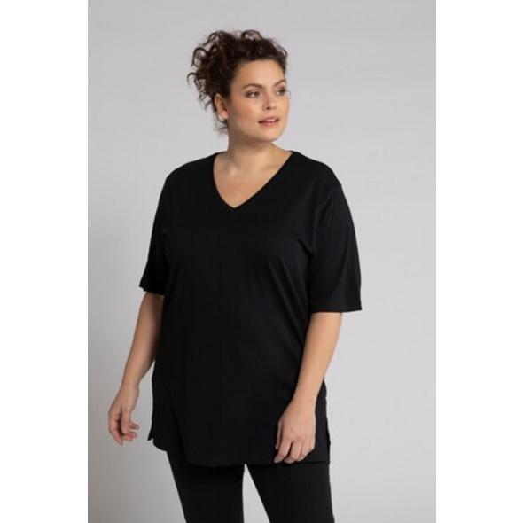 Ulla Popken T-Shirt, V-Ausschnitt, Halbarm, Relaxed, Baumwolle - Große Größen