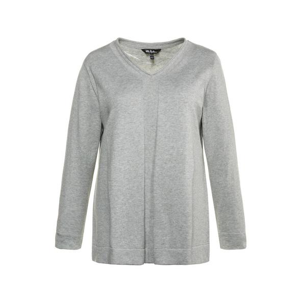 Pullover, Linksstrick-Streifen, V-Ausschnitt, Baumwolle
