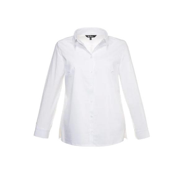 Bluse, Hemdkragen, Abnäher, Seitenschlitze, Elasthan