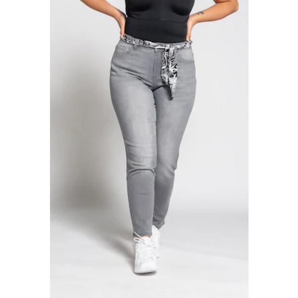 Ulla Popken 7/8-Jeans Sarah, gratis Bindegürtel, schmales Bein - Große Größen