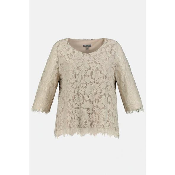 Ulla Popken Shirt, doppellagig, Blütenspitze, blickdichtes Jerseytop - Große Größen