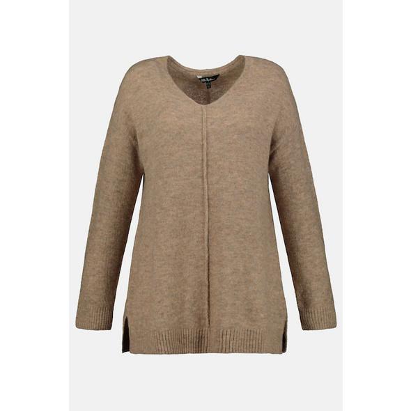 Ulla Popken Pullover, oversized, Ziernaht, Langarm - Große Größen