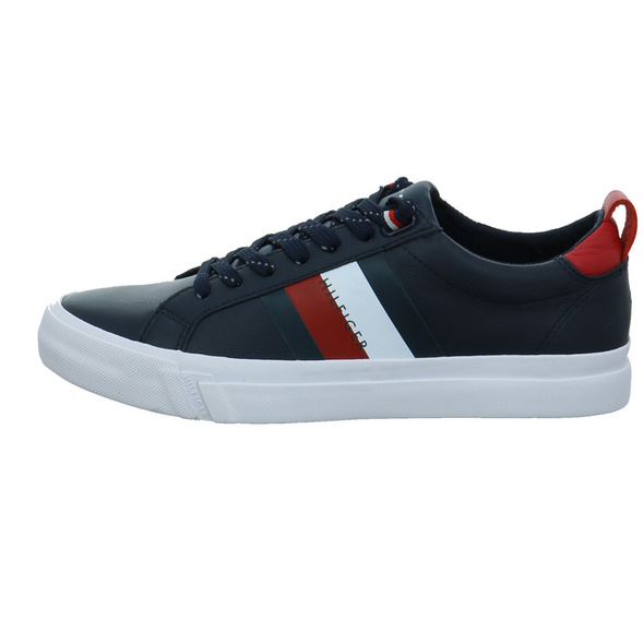 Tommy Hilfiger Herren Flag Detail Leather Blauer Glattleder Sneaker