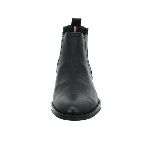 Tommy Hilfiger Herren Signature Chelsea Schwarzer Leder/Textil Chelsea Boot