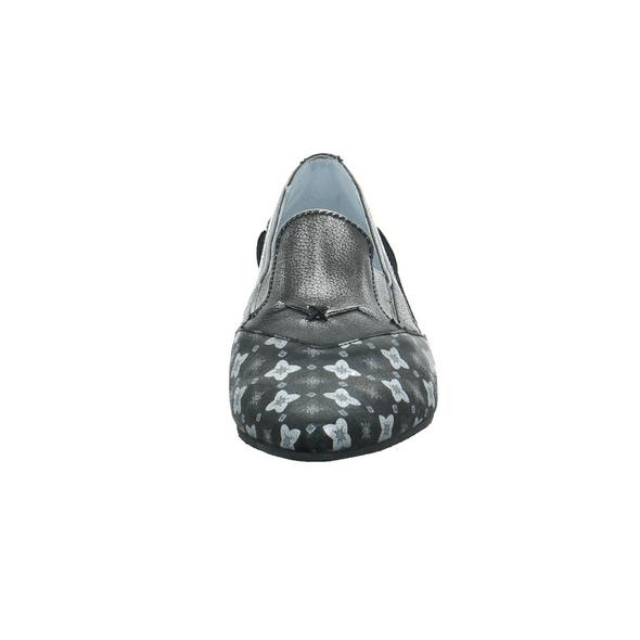 Simen Damen 3574A Schwarz Kombinierter Glattleder Slipper