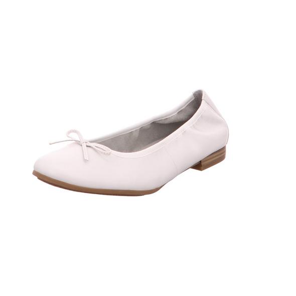 Tamaris Damen 22116-100 Weiße Glattleder Ballerina
