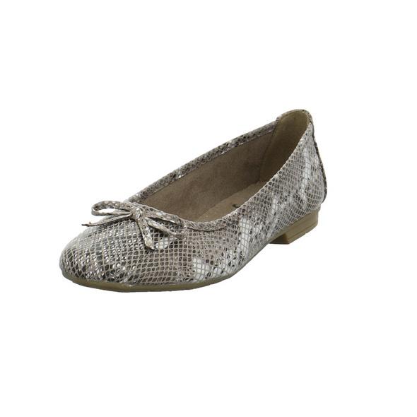 Jana Damen 22162-499 Grauer Textil Ballerina in Reptil Optik