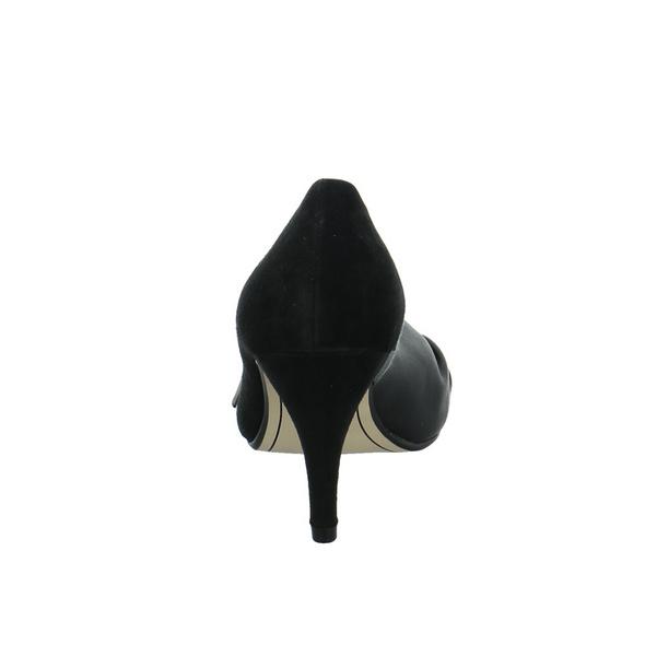 Tamaris Damen 29300-007 Schwarzer Leder/Synthetik Peep Toe Pumps