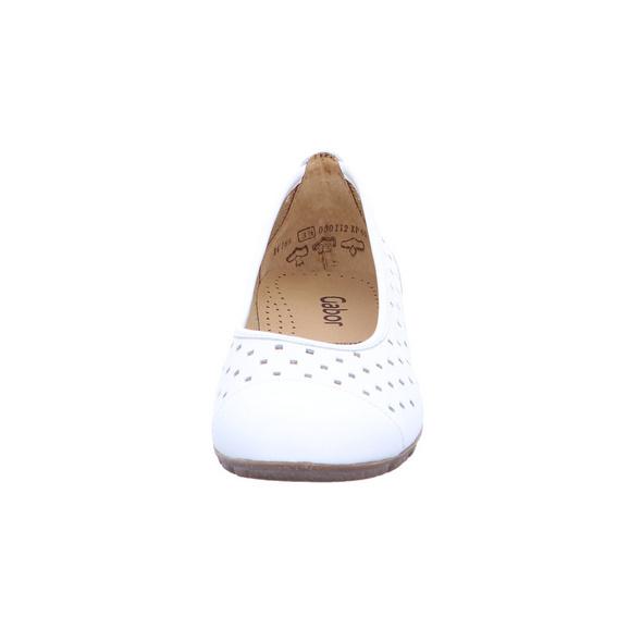 Gabor Damen 84-169-21 Weiße Glattleder Ballerina