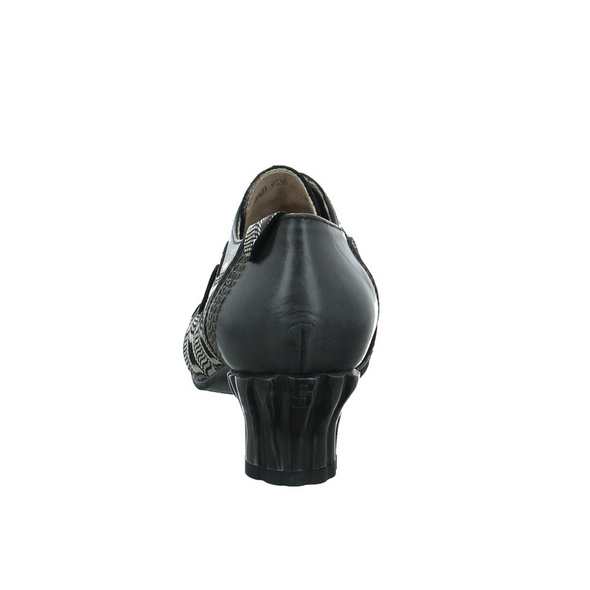 Simen Damen 09336 Schwarz Kombinierter Glattleder Pumps