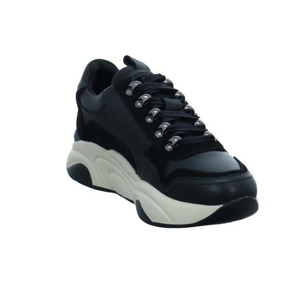 Carmela Damen 67596SCHWARZ Schwarzer Glattleder Sneaker