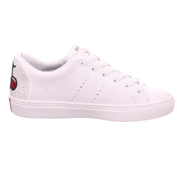 Skechers Damen Side Street Cherry Bomb Weiße Glattleder Sneaker