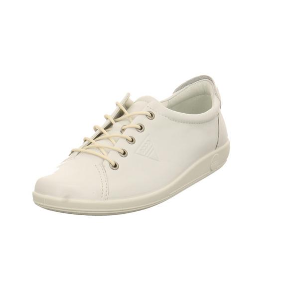 Ecco Damen Soft 2.0 Weiße Glattleder Sneaker