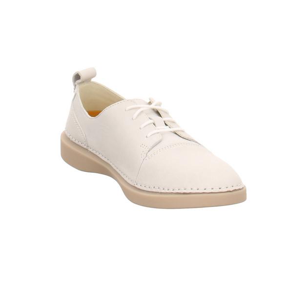 Clarks Damen Hale Lace Weiße Glattleder Sneaker