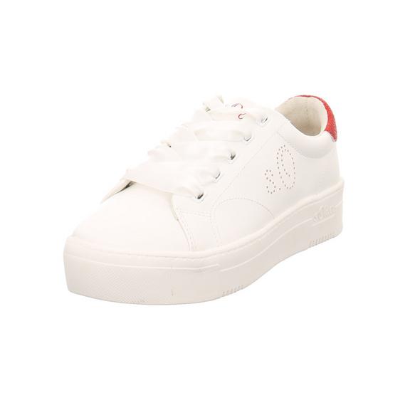 s.Oliver Damen 23632/100 Weiße Synthetik Sneaker