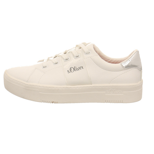 S.Oliver Damen 23628-193 Weißer Kunstleder Sneaker