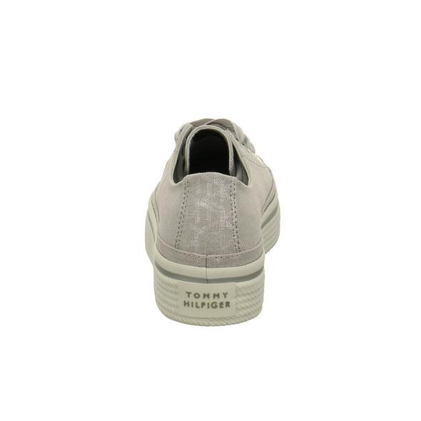 Tommy Hilfiger Damen Flatform Grauer Textil Sneaker