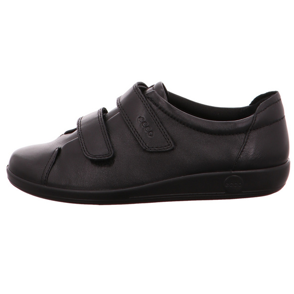 Ecco Damen Soft 2.0 Schwarze Glattleder Sneaker