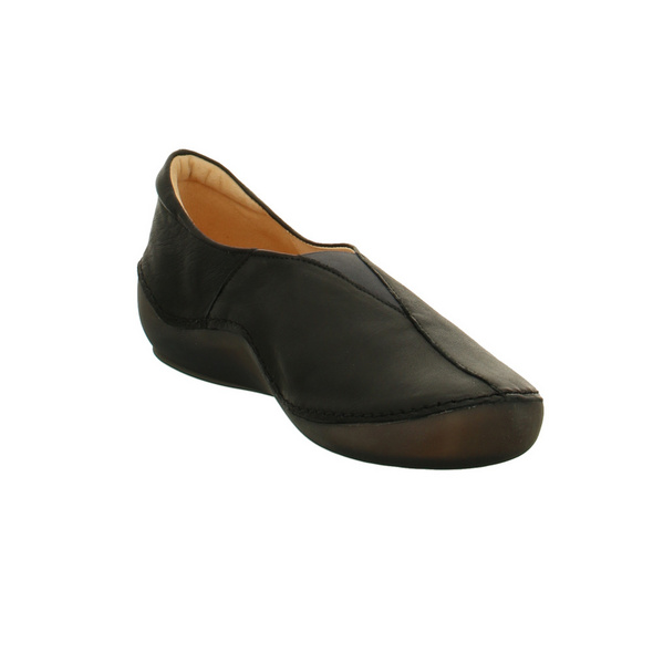 Think Damen Kapsl Schwarze Glattleder Slipper