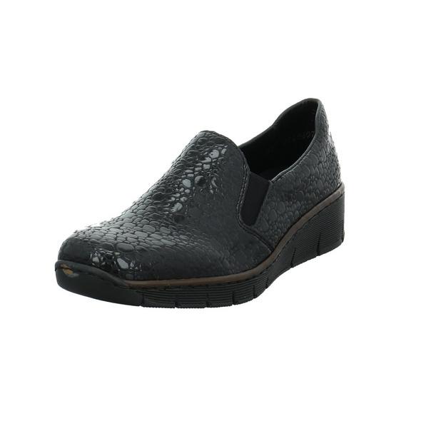 Rieker Damen 53766-45 Schwarzer Lackleder Slipper