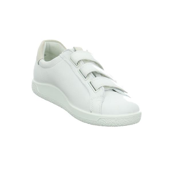 Ecco Damen Soft 1 Weißer Glattleder Slipper