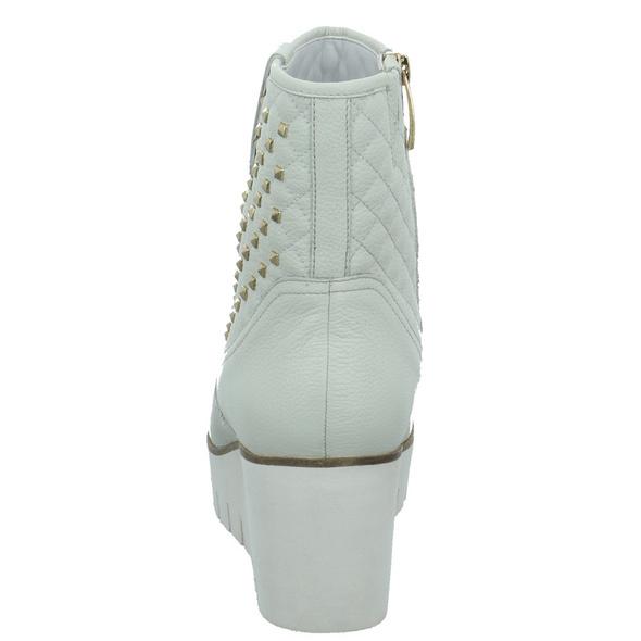 Tizian Damen Kairo 01 Weiße Glattleder Stiefelette