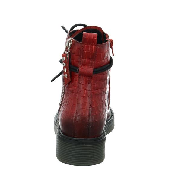 Bugatti Damen Neira Roter Glattleder Boot in Reptiloptik