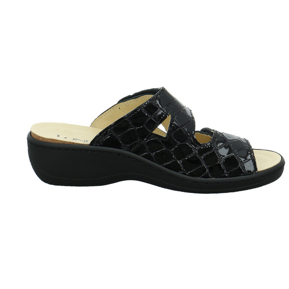 Longo Damen 1005317 Schwarze Lackleder Pantolette