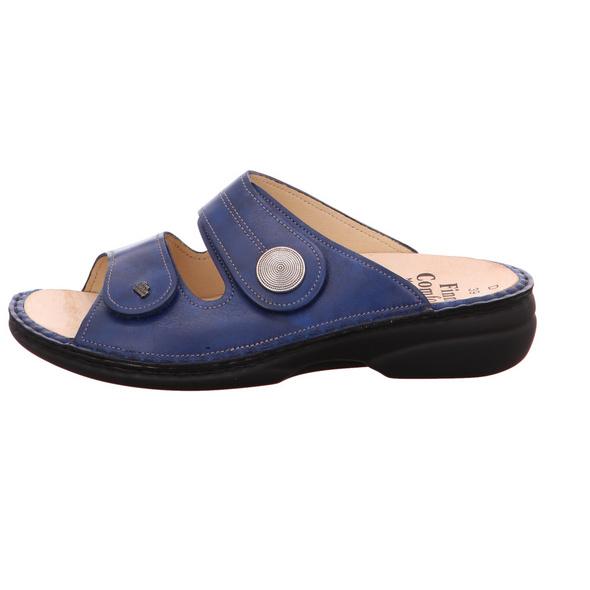 Finn Comfort Damen Sansibar 2550/120040 Blaue Glattleder Pantoletten