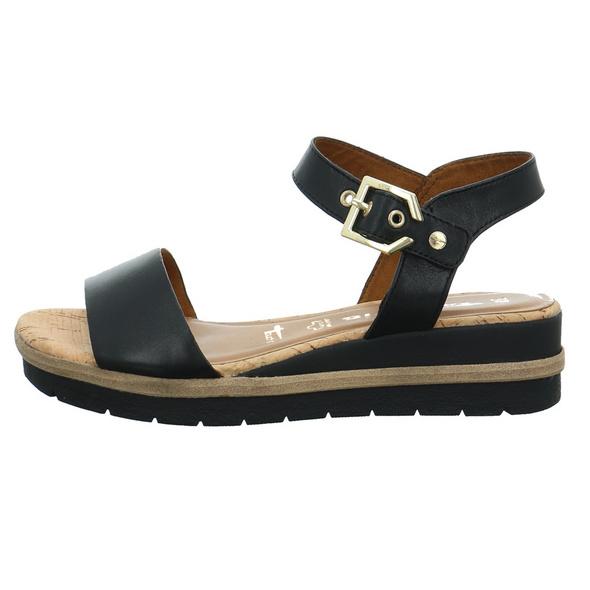 Tamaris Damen 28222-001 Schwarze Glattleder Sandale