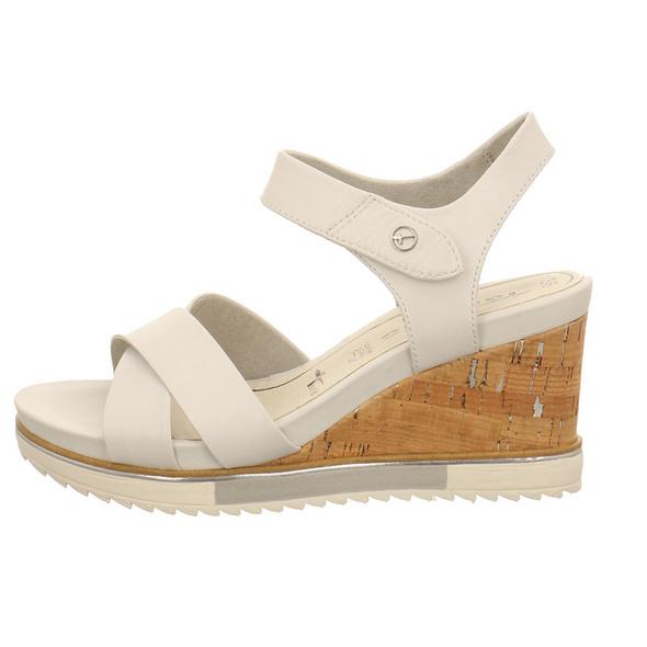 Tamaris Damen 28350-105 Weiße Glattleder Sandalette