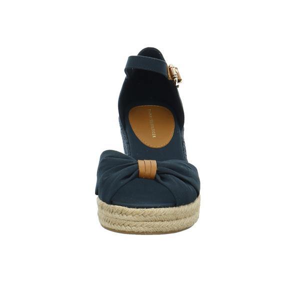 Tommy Hilfiger Damen Basic Opended Toe Mid Wedge Blaue Textil Sandalette