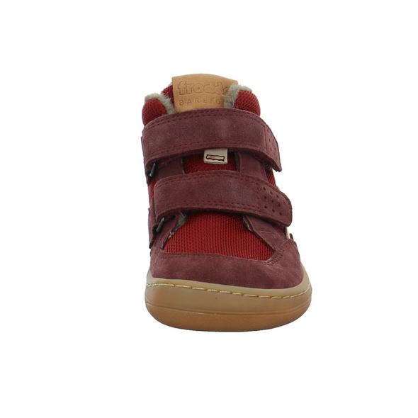Froddo Kinder Barefoot Bordeauxfarbener Leder/Textil Winterboot