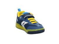 Geox Kinder J Inek Blinker Blauer Synthetik/Textil Sneaker