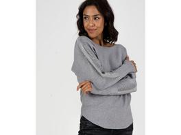 Grauer Pullover mit Strass