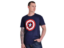 Captain America - Distressed Shield Logo T-Shirt blau