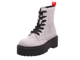 La Strada Damen 1807389-4001 Schwarz-Weiß Karierter Textil Boot