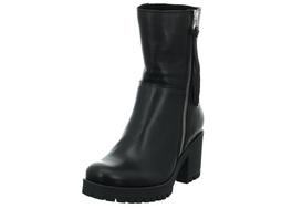 Online Shoes Damen F-8242 Schwarze Glatt-/Veloursleder Stiefelette