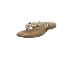 Lazamani Damen 75.451 Beigefarbene Leder/Synthetik Pantolette mit Perlen